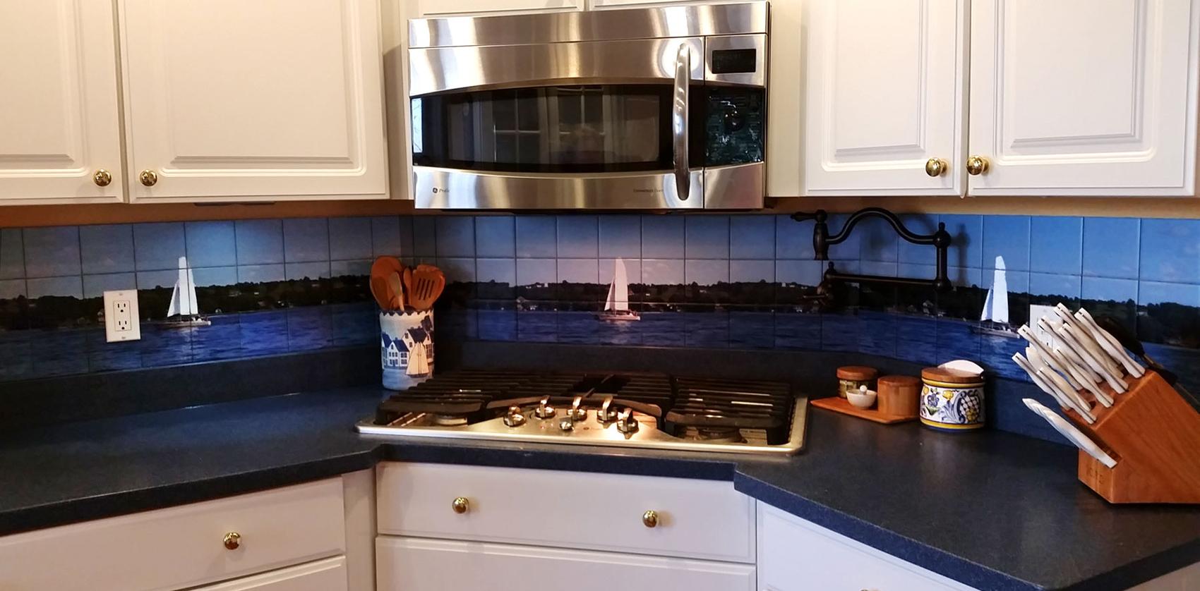 Kitchen Backsplash Custom Mural Idea on Three Walls