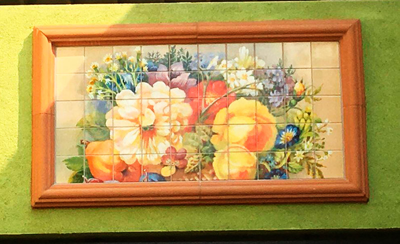 Floral Painting Kiln-Fired Outdoor Tile
