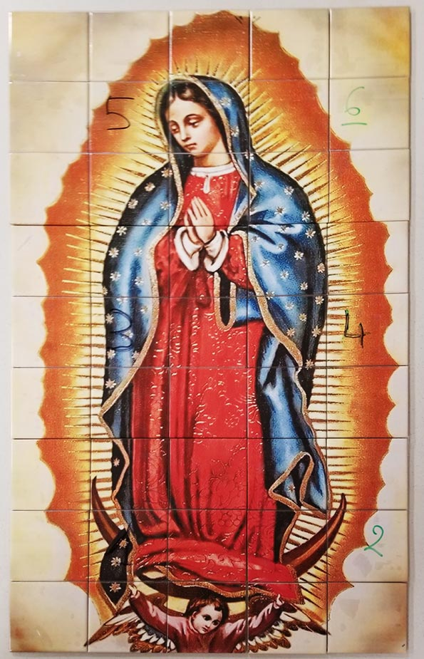 Lady of Guadalupe, Virgin Mother Outdoor Tiles Labeled for Installation