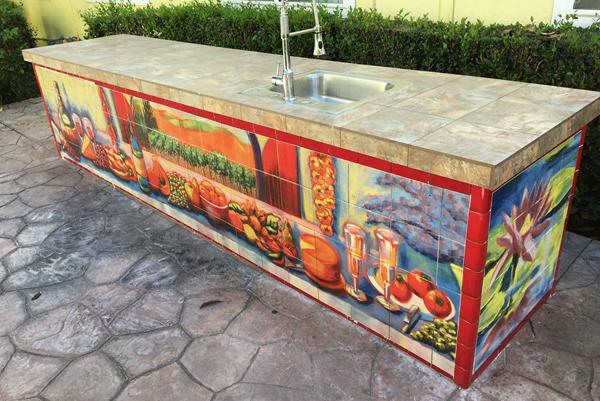 Outdoor Kitchen Serving Area Tile Murals